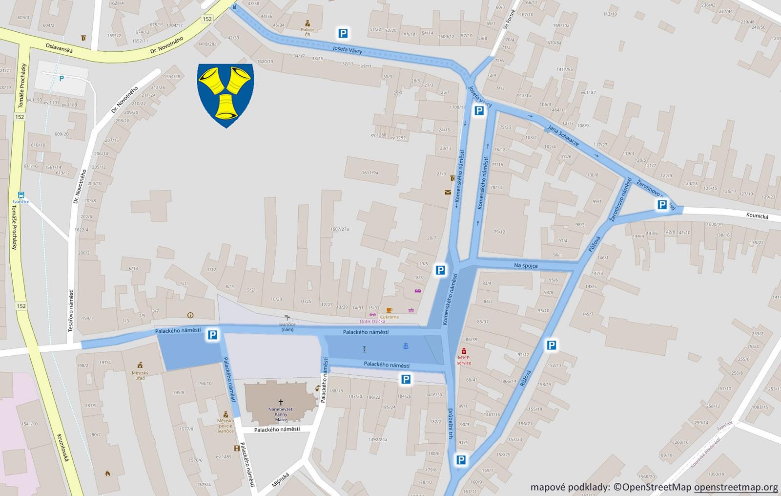 Mapa placeného parkování Ivančice