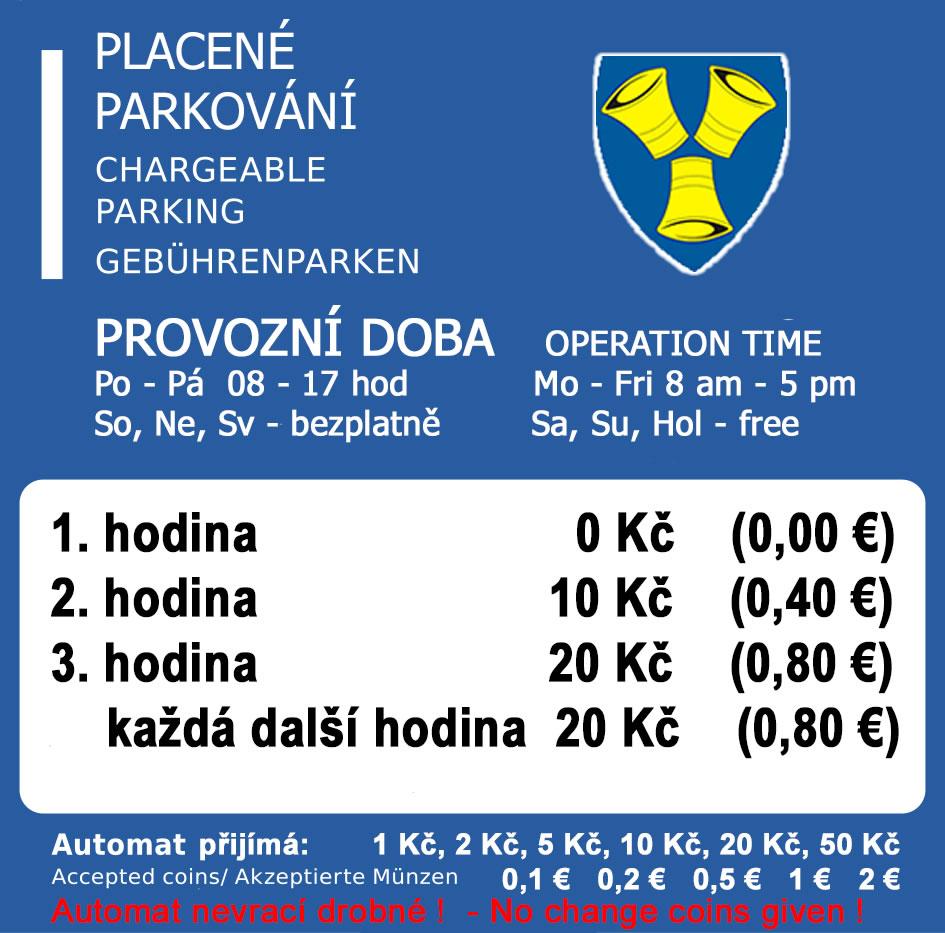 parkovací automat - tarifní štítek